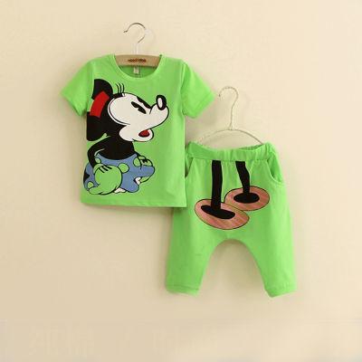米奇儿童短袖套装1-8岁男童女童宝宝婴儿短裤套装棉t恤夏装两件套