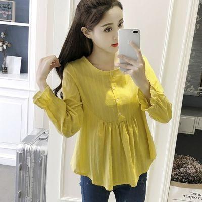 韩版长袖棉麻衬衫女2018秋季高腰纯色宽松显瘦喇叭袖百搭娃娃衫女