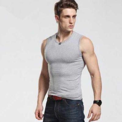 男士 夏季纯棉V领打底无袖t恤紧身修身坎肩健身运动宽肩汗衫背心