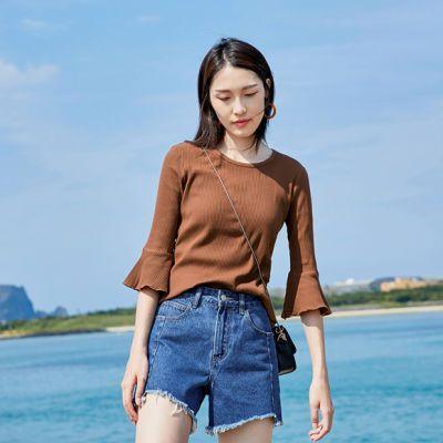 94%棉喇叭袖短袖T恤女2018夏新款女装弹力修身圆领针织打底衫上衣