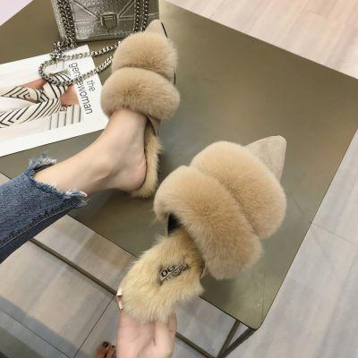 狐狸毛网红拖鞋女2018秋冬季时尚尖头毛毛鞋粗跟包头中跟半拖鞋女