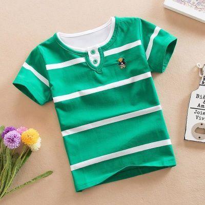 男孩短袖t恤6-7-8岁夏季2017新款韩版小学生儿童条纹衣服男童体恤