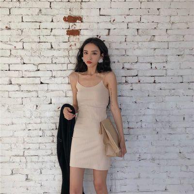 春装2018新款女初恋裙复古少女吊带裙女夏修身针织气质纯色连衣裙