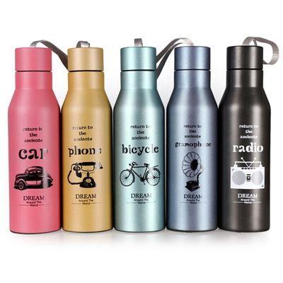 真空保温杯便携式儿童女士男士双层不锈钢500ML运动壶杯颜色随机