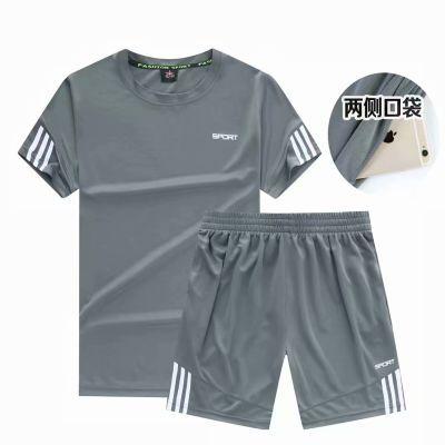 男装运动套装夏季新款短袖短裤两件套加大加肥宽松休闲两件套夏