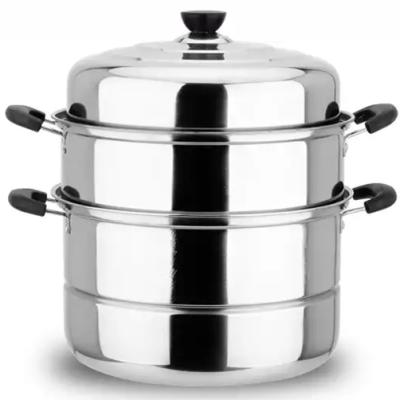 不锈钢蒸锅三层双2层加厚蒸笼汤锅大号蒸锅电磁炉煤气锅具26-30cm