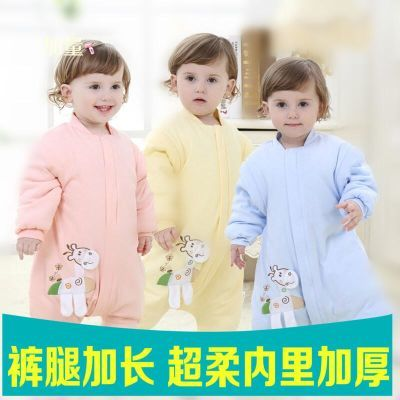 婴儿童睡袋纯棉春秋冬夹棉加厚款男童女宝宝睡衣2防踢被3分腿睡袋