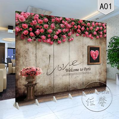 屏风隔断客厅玄关办公时尚现代简约卧室酒店折屏玫瑰欧式复古怀旧