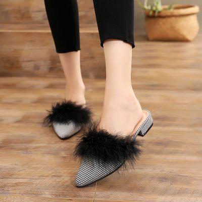 毛毛拖鞋女外穿2018新款尖头包头半拖鞋仙女粗跟鸵鸟毛懒人穆勒鞋