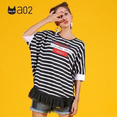 a02商场同款少女风蝙蝠袖拼接系带条纹T恤 D1S5A0991KT