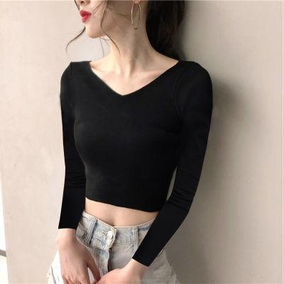韩国高腰短款露脐纯棉上衣服黑色紧身打底衫秋冬漏肚脐长袖T恤女