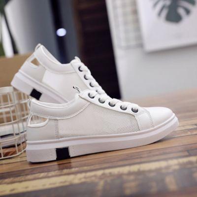 秋季小白鞋女生装薄款透气女鞋2018新款防滑学生平底网纱镂空白鞋