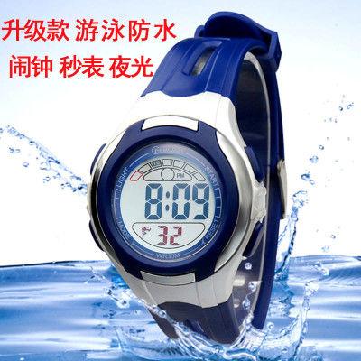 新款儿童手表游泳防水夜光小孩电子表运动多功能男孩女孩中小学生