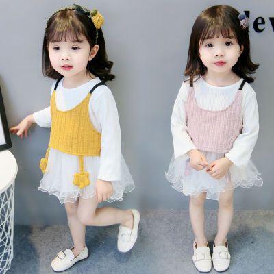 童装婴儿女童两件套连衣裙春秋新款韩版04儿童宝宝百搭网纱公主裙