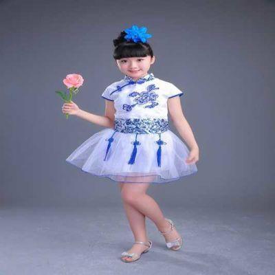 2018新唐装韩版青花瓷演出服女童连衣裙男童套装幼儿园六一表演服
