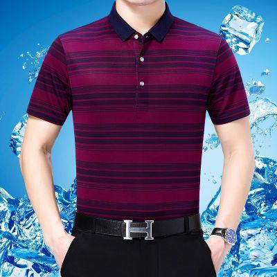 中年男士短袖t恤爸爸服装30-40-45岁50-60人夏装体��中老年宽松