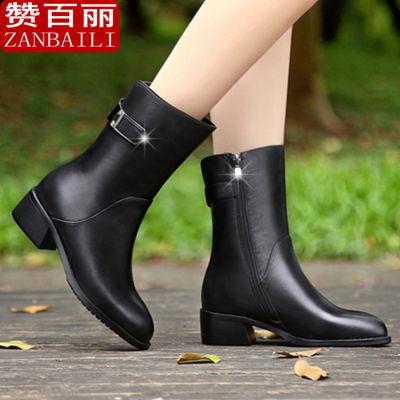 赞百丽 靴子女短靴女2018新款英伦侧拉链马丁靴高跟鞋女冬季粗跟