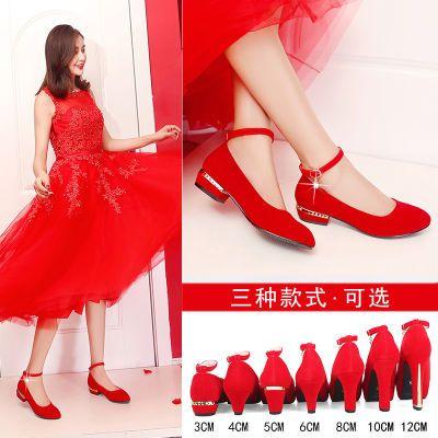 红鞋婚鞋女红色中式粗跟新娘鞋平跟孕妇大码绒面结婚鞋敬酒秀禾鞋