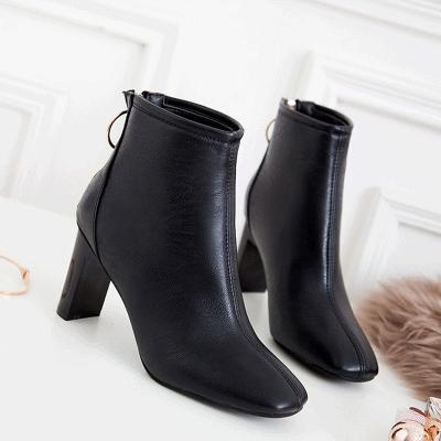 【优质软皮】短靴女春秋粗跟马丁靴英伦风单靴子女高跟方头裸靴鞋