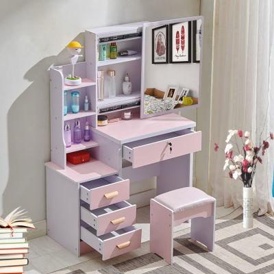 梳妆台卧室小型化妆桌子多功能欧式迷你化妆台收纳柜网红镜子化妆