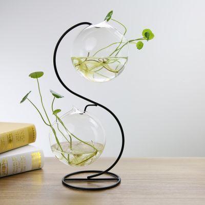李绅创意欧式铁艺水培玻璃花瓶小鱼缸绿萝铜钱草植物花盆装饰摆件