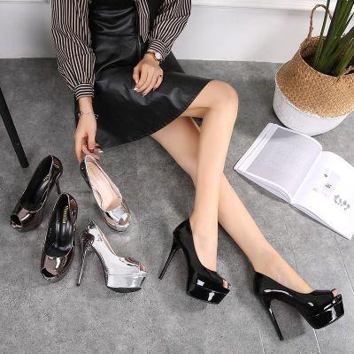 高跟鞋女2018新款时尚职业潮流性感商务高跟防水台鱼嘴休闲女跟鞋