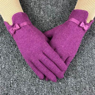 羊毛手套女士秋冬季保暖骑行开车韩版学生可爱户外单层薄款分指