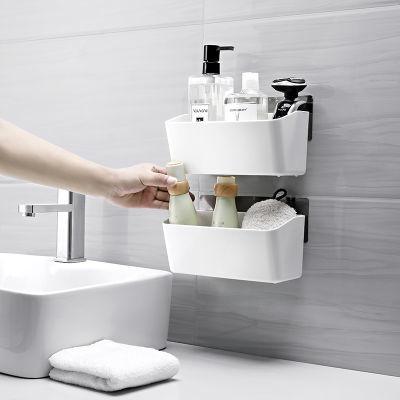 �p�c吸壁式收�{架 �N�l免打孔�r水置物架 多功能毛巾香皂收�{架