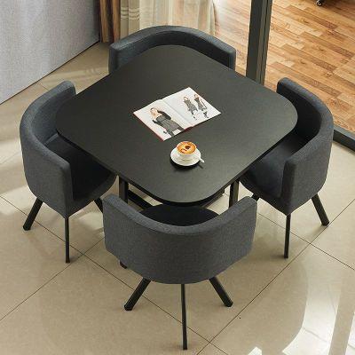 简约接待桌椅组合一桌四椅洽谈办公桌椅店铺会客咖啡奶茶店小圆桌