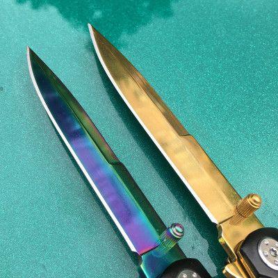 户外野外求生刀折叠刀不锈钢水果刀多功能快开随身防身武器刀折刀
