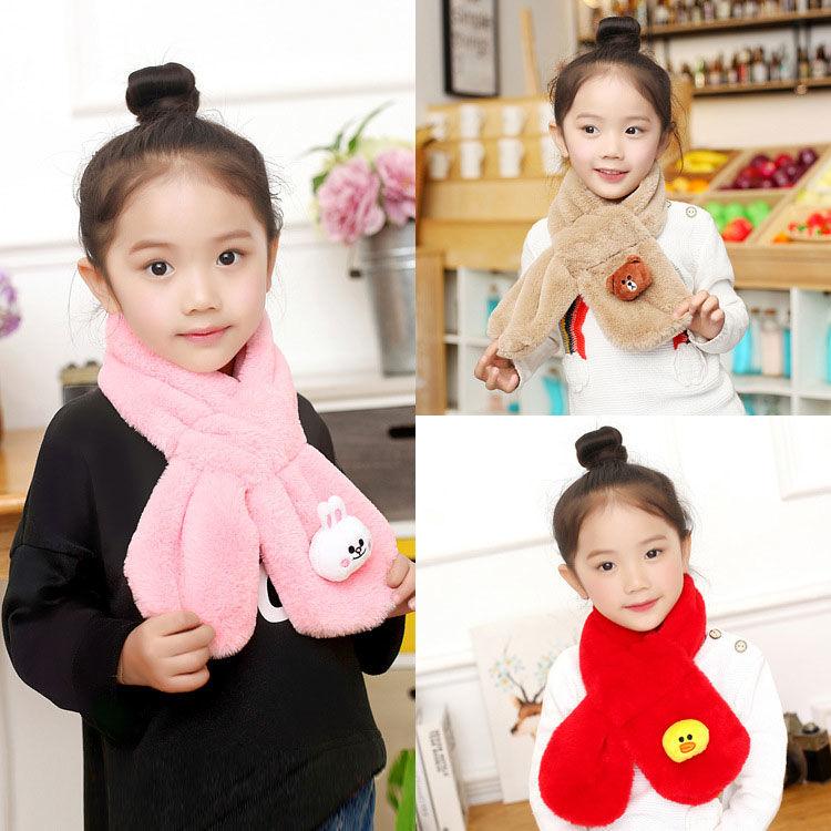 儿童围巾秋冬季男女童宝宝毛绒围脖加厚保暖小孩学生韩版纯色脖套