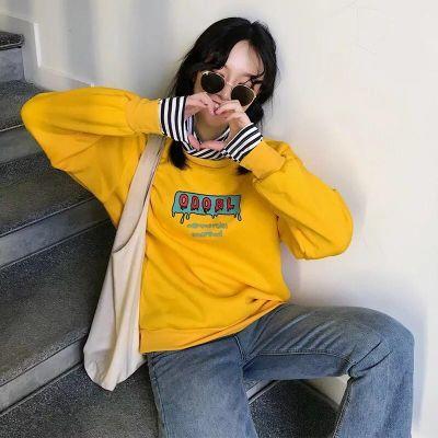 2018新款女长袖卫衣韩版宽松高领拼接bf假两件条纹女学生卫衣潮