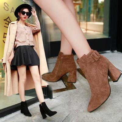 【掌柜推荐款】短靴鞋子女英伦磨砂高跟鞋马丁时尚女鞋秋冬靴子