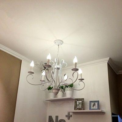 欧式铁艺蜡烛吊灯客厅餐厅卧室服装店复古地中海简约黑白色灯具