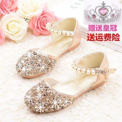 女童凉鞋平底公主鞋新款包头小女孩水晶金色表演软底比赛主持童鞋