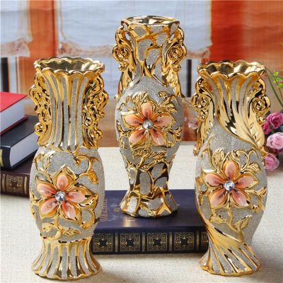 客厅欧式电镀花瓶陶瓷工艺品摆件结婚装饰插干花开业礼品家居软装