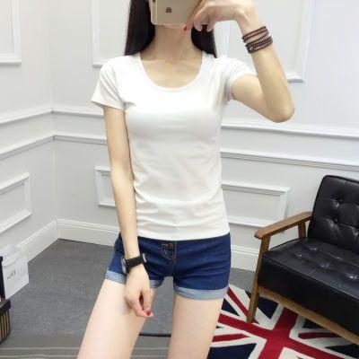 夏短袖T恤女修身纯棉莫代尔打底衫上衣女士体恤白色紧身女装韩版