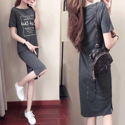 韩版2018夏新款圆领短袖口袋修身显瘦超长裙休闲复古T恤女连衣裙