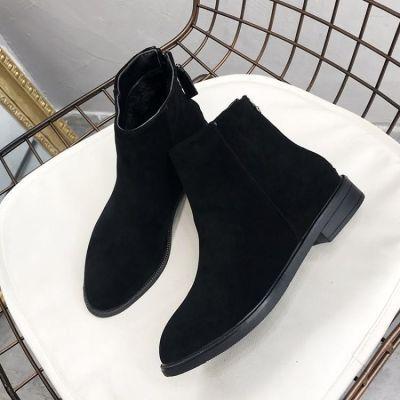磨砂短靴女英伦粗跟裸靴2018秋冬季新款百搭chic鞋马丁靴韩版靴子