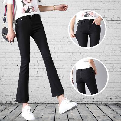 九分牛仔女微喇裤春夏季薄款韩版修身显瘦白色高腰喇叭裤女潮