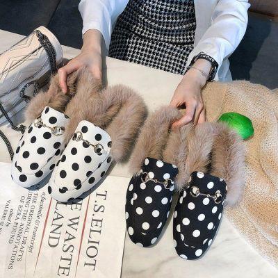 兔毛拖鞋女秋冬欧美包头加厚毛毛外穿粗跟半拖鞋方头懒人穆勒鞋