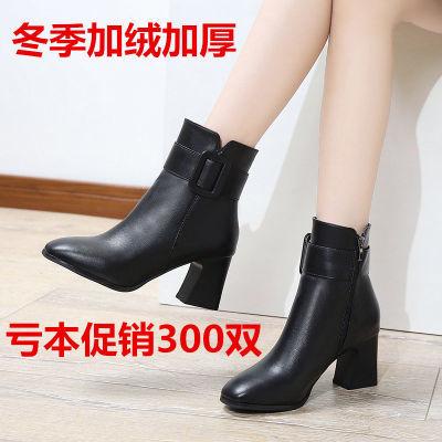秋冬真皮中筒靴中跟黑色马丁靴高跟中长靴粗跟牛皮加绒大码女靴子