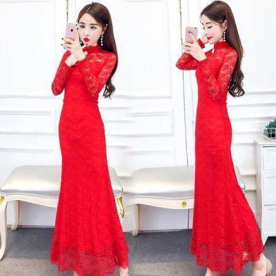 2018新款名媛气质时尚立领镂空蕾丝修身显瘦长款礼服裙连衣裙