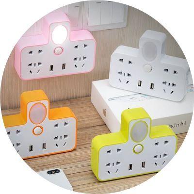 带小夜灯无线智能插头转换器多功能一转多扩展USB手机支架小夜灯