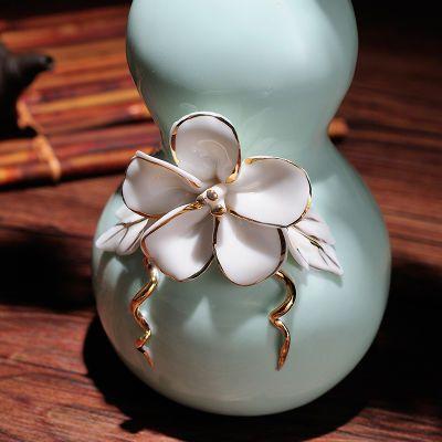 创意风招财吉祥葫芦陶瓷花瓶摆件客厅餐桌电视柜?#34892;?#21495;花器