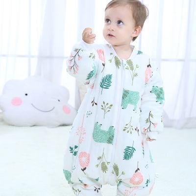 婴儿纱布夹棉加厚睡袋宝宝保暖防踢被儿童分腿睡袋秋冬款男女