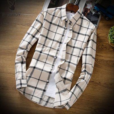 花花公子男士长袖格子衬衫条纹休闲修身衬衣韩版潮拼接男装衬衣