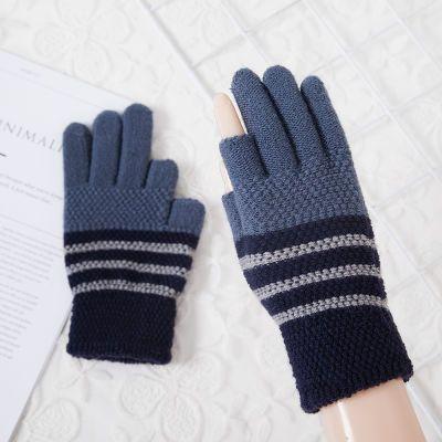 韩版半指露两指手套男女通用加厚骑车保暖针织毛线学生写字手套女