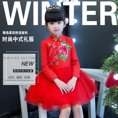 儿童礼服秋冬款女童中国风唐装红色长袖公主连衣裙蓬蓬纱裙演出服