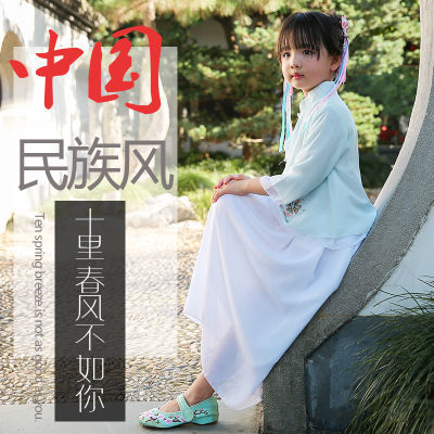玲珑阁新款女儿童汉服中国风复古宝宝刺绣套装裙裤优质唐装秋冬